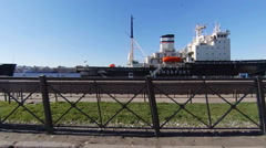 Ships on the waterfront in St. Petersburg Stock Footage