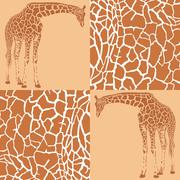 Giraffe patterns for wallpaper - stock illustration