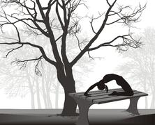 Gymnast on a table in in the park - stock illustration