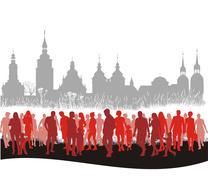 Group of people walking Piirros