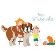 Happy little girl and boy hugging dog Stock Illustration