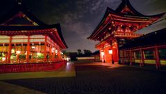 Motion Control Pan/Tilt Time Lapse of Fushimi Inari Shrine in Kyoto, Japan Stock Footage