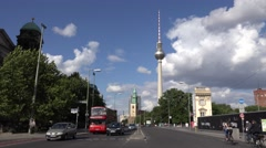 ULTRA HD 4K Traffic street double decker touristic bus Berlin Alex Tower TV day  Stock Footage