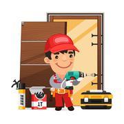 Carpenter Installs the Door - stock illustration