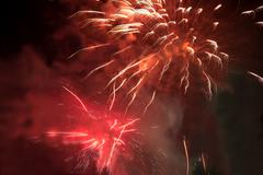 Foto Red fireworks - stock photo