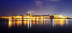 The panorama of Valletta in night illumination, Sliema, Malta - stock photo