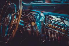 Interior of old retrocar. Vintage effect processing - stock photo