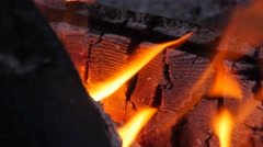 Red hot coals in campfire closeup Stock Footage