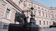 Monument to Emperor Paul I in yard of the Mikhailovsky castle. Saint-Petersburg. Stock Footage