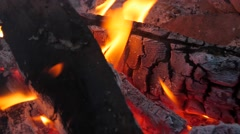 Red hot coals in campfire Stock Footage