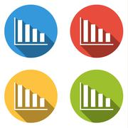 Collection of 4 isolated flat buttons (icons) for graph - stock illustration