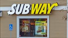 Subway sandwich shop window menu, loop Stock Footage