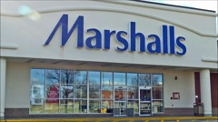 Stock Video Footage of Marshalls retailer storefront entrance, loop