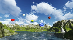 Balloons flying with mountains sea and animated clouds Stock Footage