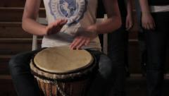 Playing Djembe Drum Stock Footage