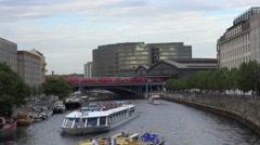 ULTRA HD 4K Tourist people enjoy cruise trip Berlin city center train pass day Stock Footage