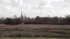Beautiful View of Lichfield Cathedral Across Fields, Trees and Marshes Stock Footage