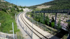 Train passes by in Jerusalem - view from a bridge Stock Footage