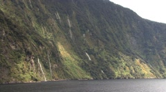 New Zealand Milford Sound Waterfalls Stock Footage