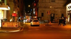 Traffic in Rome at night Stock Footage