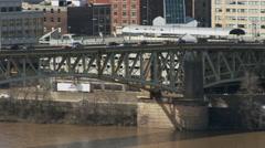 Liberty Bridge & Pittsburg skyline Stock Footage