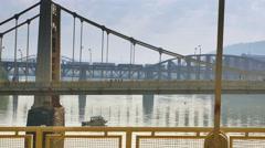 Pittsburgh Marathon Runners on Rachel Carson Bridge Stock Footage