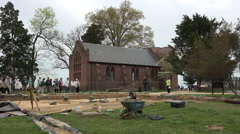 Stock Video Footage of Jamestown Virgina historic church archaeology dig 4K 003