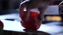 Cutting Bell Pepper Stock Footage