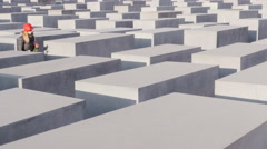 Berlin,holocaust memorial monument woman commemorating   jews victims 4k Stock Footage