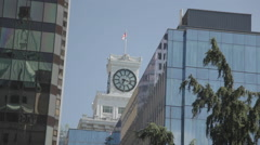 Clock Tower of the Vancouver Block on Granville Street Stock Footage