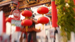 Tilt Shift Time Lapse of Chinese Temple in Yokohama Chinatown in Japan -Tilt Up- - stock footage