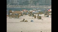 Vintage 16mm film, Rio de Janeiro beach, telephoto 1960s Stock Footage