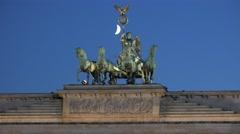 ULTRA HD 4K Famous Brandenburg Gate moon light twilight Berlin landmark day icon Stock Footage