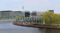 Berlin skyline - Spree / mitte / tv tower , sight seeing Stock Footage