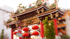 Tilt Shift Time Lapse of Chinese Temple in Yokohama Chinatown in Japan - stock footage