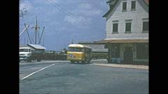 Vintage 16mm film, Brazil river town traffic b roll, 1960s Stock Footage