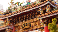 Tilt Shift Time Lapse of Chinese Temple in Yokohama Chinatown in Japan -Close Up - stock footage