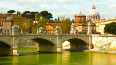 Panoramic view of the river Tiber Stock Footage