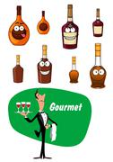 Wine steward and a collection of alcoholic drinks - stock illustration