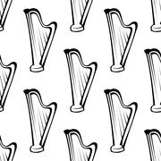 Harp musical instrument seamless pattern Stock Illustration