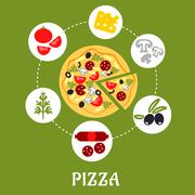 Pizza infographic with ingredients - stock illustration
