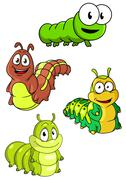 Stock Illustration of Collection of cute colorful cartoon caterpillars