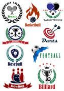 Set of Assorted Sports Tournament Logo Designs - stock illustration