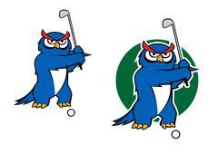 Cartoon owl playing golf - stock illustration