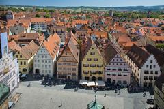 View of the village of Rothenburg ob der Tauber - stock photo