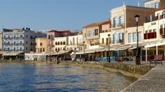 Chania, Crete Waterfront Promenade Stock Footage