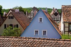 Ancient Houses in Rothenburg ob der Tauber - stock photo