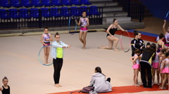 Young gymnasts training at a field before a tournament Rhythmic Gymnastics Stock Footage