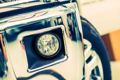 Car Fog Lights Halogen and Chromed Pickup Truck Bumper. - stock photo