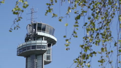 Airport tower oslo norway green trees leaves Stock Footage